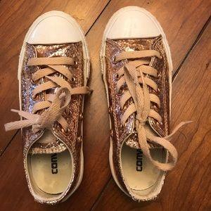 Girls rose gold glitter converse size 12